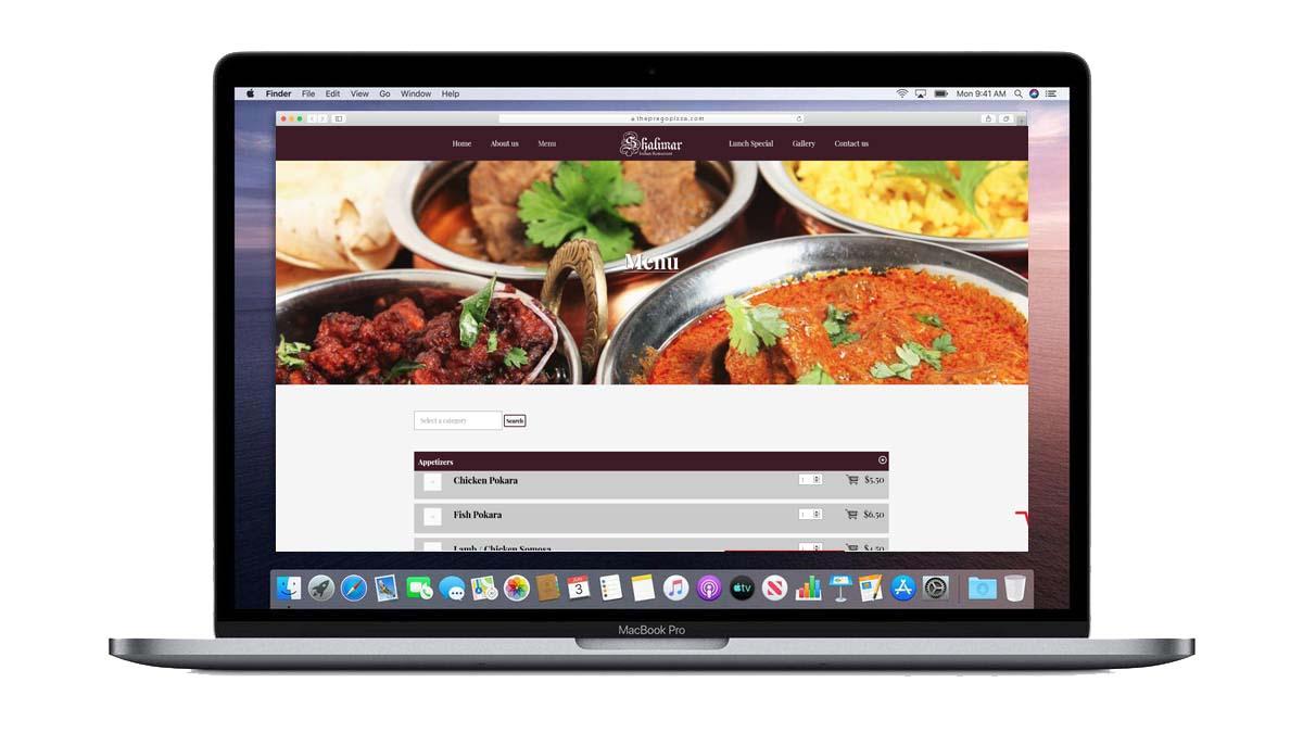 shalimar menu